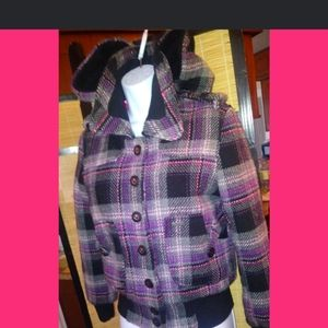 Powder room purple plaid coat
